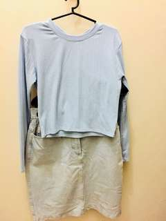 Blue Top + Denim Skirt