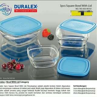 Duralex 3pcs Square Bowl With Lid