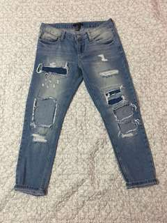 Forever 21 Low Rise Distressed Jeans