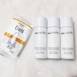 Skin Biotics hydrating cleansing milk保濕潔面乳,Curel UV protection milk防曬乳液