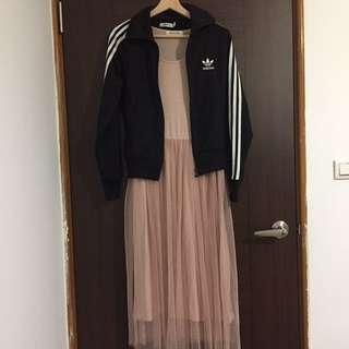 搭配販售/ Adidas經典三葉草+Olive Des Olive玫粉紗裙