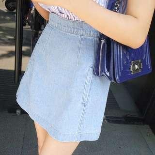 Light Blue Coloured Korean Style Trendy Denim Skirt