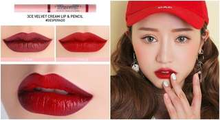 3CE studio velvet cream lip & pencil in Desperado