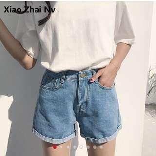 韓版女牛仔短褲 XL