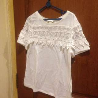 H&M White Top Embroidery