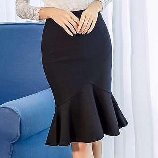 Solid Coloured Korean Style Ruffled Fishtail Skirt