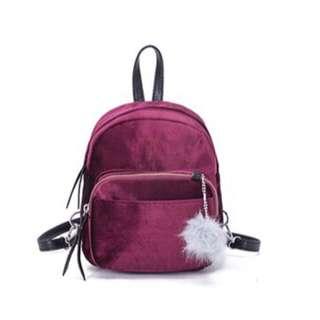Velvet 2 in 1 Mini bag (Backpack/Sling bag) Burgundy