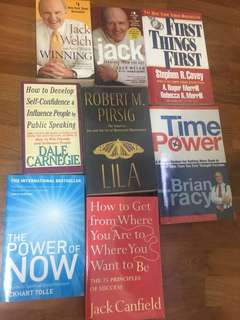 Assorted self help books - Brian Tracy, Dale Carnegie, Jack Welch, Eckhart Tolle, Jack Canfield, Robert Pirsig