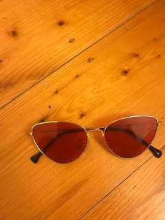 RED TINT VINTAGE SUNGLASSES