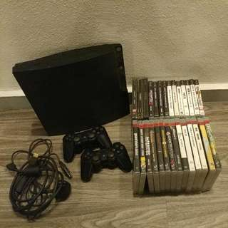 Pre❤ PS3 CONSOLE WITH 2 CONTROLLERS AND 28 GAME TITLES