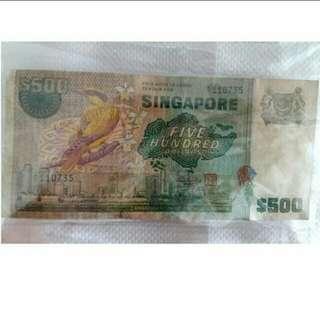 Bird Series $500 Singapore Old Note