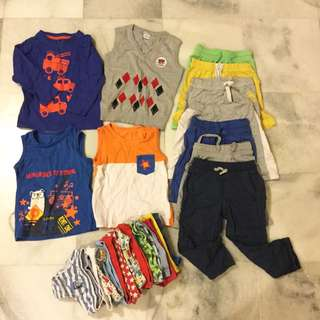 Pre-loved Boys Clothes,2-3 yo, 4 tops, 7 pants, 17 underpants