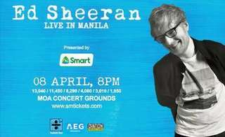 ED SHEERAN LIVE IN MANILA CONCERT TICKET GENERAL ADMISSION