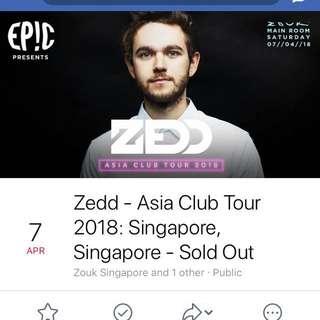 (wts) Zedd - Asia Club Tour 2018 - Singapore Zouk