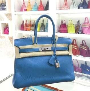 Hermes Birkin 30 blue jeans💎白線,中間大膜在🤟🏻