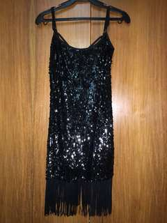 Sequenced Dress with Fringes