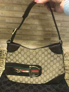 Authentic Gucci Medium Horsebit Hobo Handbag Purse