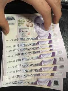 $2 Sgd note collection
