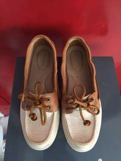 Preloved Sperry Canvas Beige and Brown