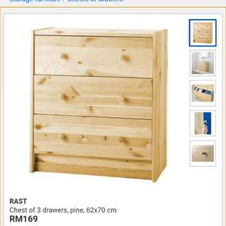 Ikea - Rast chest of 3 drawers