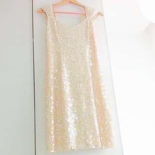BN Designer Glitter Sequins Satin Cream Milky Dress (do you see this marked sold? no. then OBVIOUSLY ITS AVAILABLE)