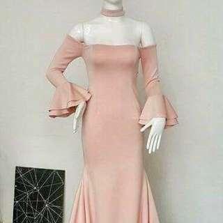 Off Shoulder Bell Sleeved Long Gown Fluted Hem Millennial Pink Rose By Designer