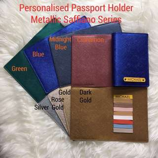 Personalised Passport Holder Travel Passport Cover Case Customised NAME Metallic Saffiano Series Blue Holder Yellow Tag