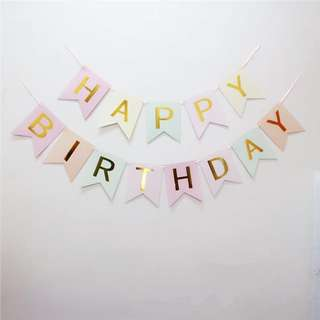 Pastel Purple Happy Birthday Banner with Gold Foil