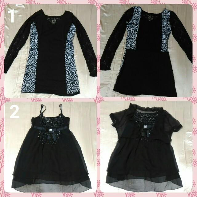 🆕2件$150 全新-黑色蕾絲摟空洋裝 連身裙 斑馬紋 小鑽洋裝 小外套