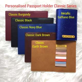Personalised Passport Holder Travel Passport Cover Case Customised NAME Classic Series Yellow Tag Without Charm Add Charm $1 each FREE SHIPPING