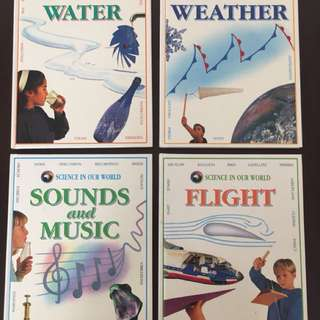 Encyclopedia books (water/weather/sounds and music/flight)