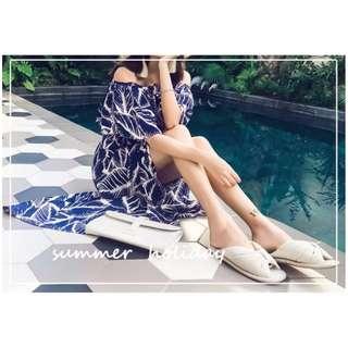 PQ49435 # 荷葉雪纺開叉性感長裙