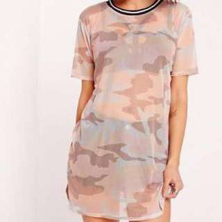 SALE Army / camouflage print mesh top