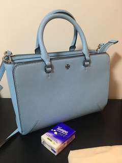 Tory Burch Robinson Small Zip Tote Riviera Blue