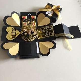 Explosion Box With Cake , 4 Waterfall And Pull tab on black & gold