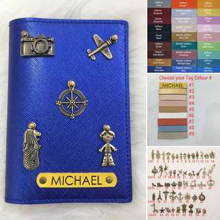Personalised Passport Holder Travel Passport Cover Case Customised NAME Metallic Saffiano Blue Passport Holder Yellow Tag Without Charm. Add Charm $1 each FREE SHIPPING