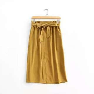 Rope Picnic Dark Mustard High Waisted Skirt