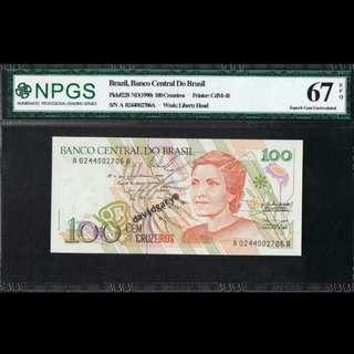 BRAZIL 1990 100 CRUZEIROS GRADED