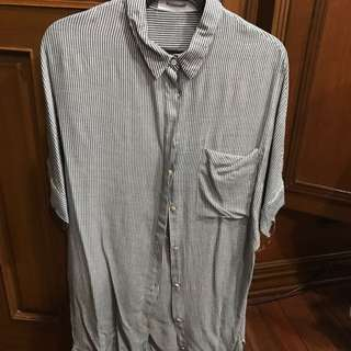 Editor's Market gray and white striped short sleeved shirt dress