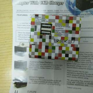 Multi nation travel ADAPTOR with USB charger