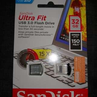 Brand New Sealed 32gb SanDisk Ultra Fit USB 3.0 Flash Drive