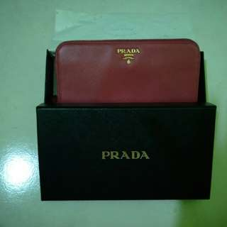 Prada Saffiano Metal Zip Long Wallet in IBISCO