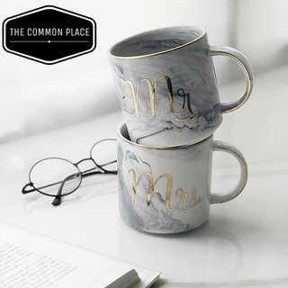 INSTOCK Marble 'Mr' & 'Mrs' Couple Mug Ceramic Cup