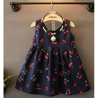Cute Cherry Print Halter Dress