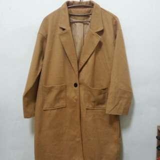 駝色長版大衣 M