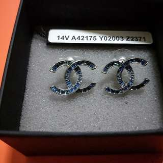Blue Crystals Chanel Earrings