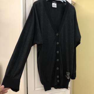 Chanel cashmere silk dark grey cardigan not tweed