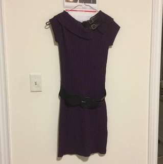 PRICE DROP | Women's S | Purple Sweater Dress with Removable Belt