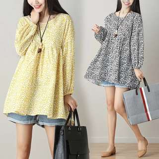 (M~2XL) Plus size Printing cotton and linen dress Korean lantern long sleeve floral pleated