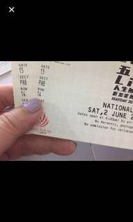 2 Cat 1 May Day Concert Tickets
